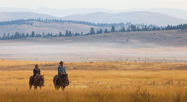 Horse riding at the Resort at Paws Up in Montana. Montana Luxury Ranch
