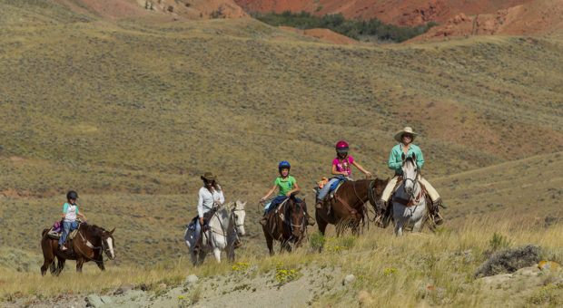 Parents and Children enjoy ranch activities at the Lazy L & B Ranch, Dubois, Wyoming