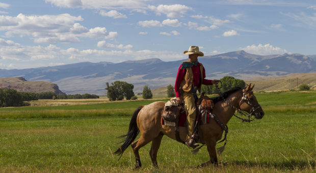 Clients enjoy horseback ride at the Lazy L & B Ranch, Dubois, Wyoming.